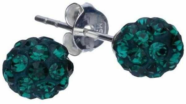 Srebrne kolczyki 925 kulki z zielonymi kryształkami 1,00g