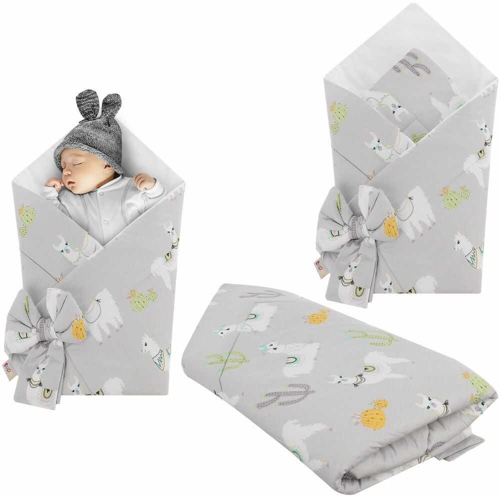 Rożek niemowlęcy bawełniany otulacz dziecięcy becik - LAMY SZARE