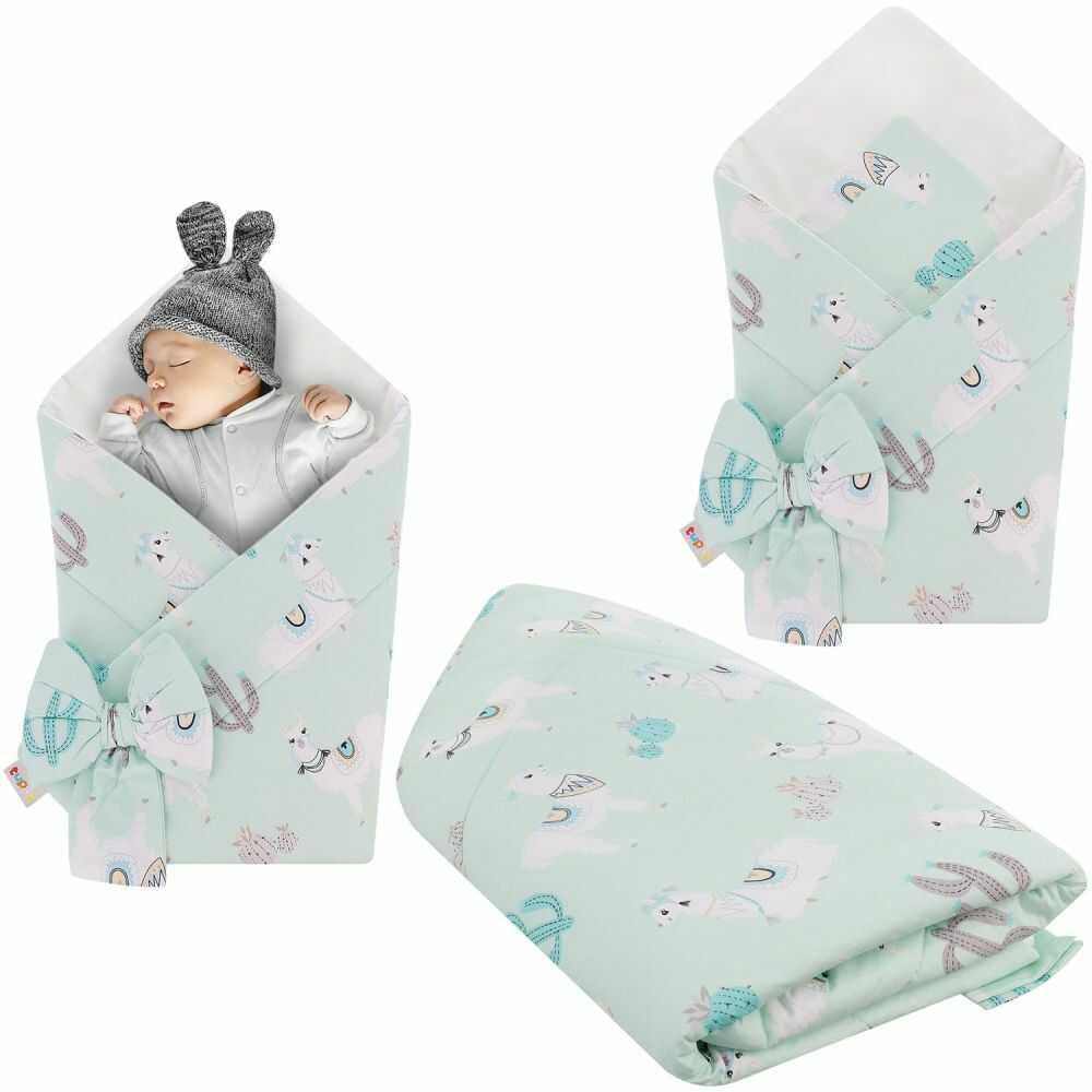 Rożek niemowlęcy bawełniany otulacz dziecięcy becik - LAMY MIĘTOWE