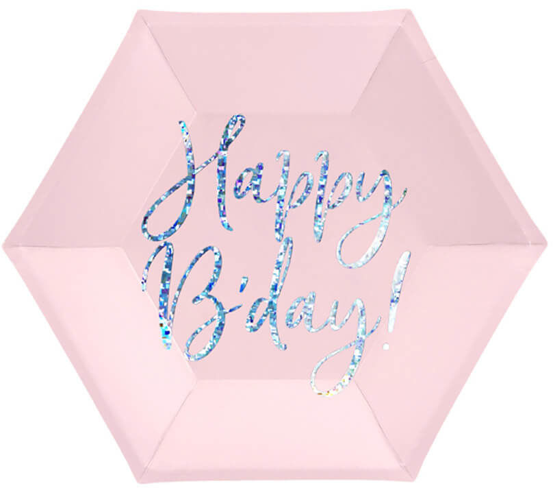 Talerzyki urodzinowe jasnoróżowe Happy B''day - 20 cm - 6 szt.