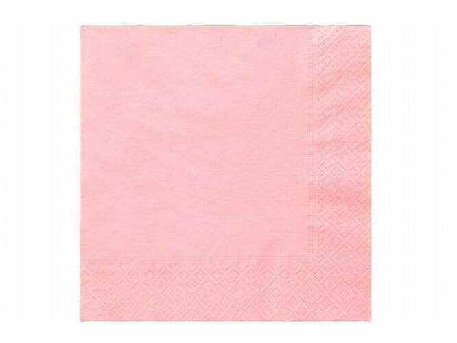 Serwetki 3-warstwowe 33 cm, jasno różowe - 20szt.