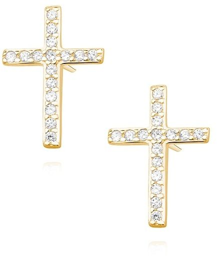 Delikatne pozłacane srebrne kolczyki celebrytka krzyżyk krzyż cyrkonie srebro 925 Z1336E_G