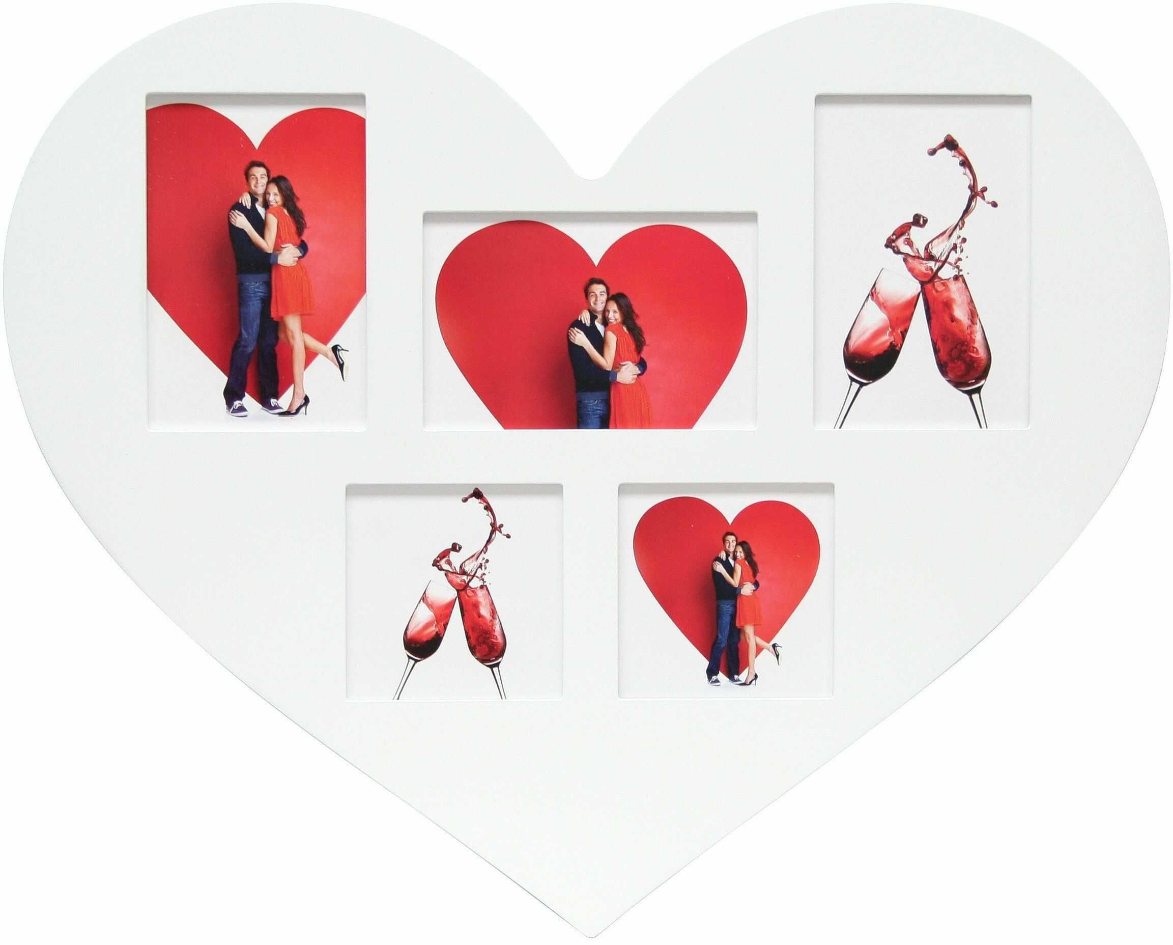 Deknudt Frames S66RE1-G5-40.0X50.0 Ramka na zdjęcia w kształcie serca na 5 zdjęć 53,5 x 43,5 x 2 cm biała