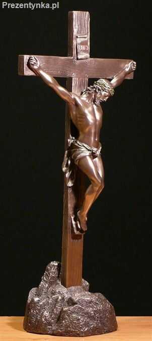 Krzyż postacią Jezusa na podstawce