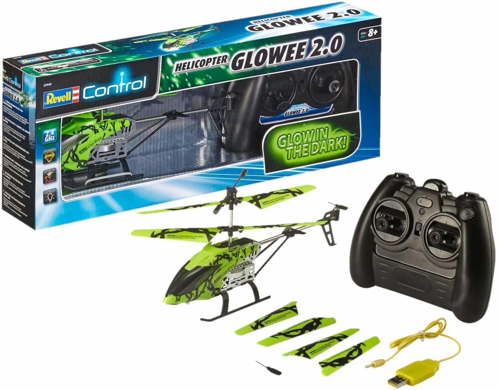 Revell Control 23940 RC Helicopter Glowee 2.0, 2,4 GHz, łatwy do latania, żyroskop, efekty LED Glow-in-the-Dark akumulator, zdalnie sterowany helikopter, zielony, 25 cm