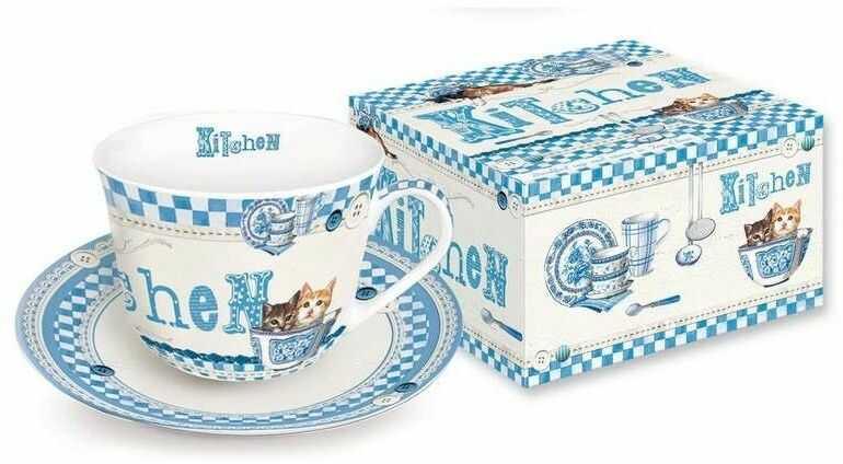 R2s - filiżanka ś niadaniowa z talerzykiem z porcelany