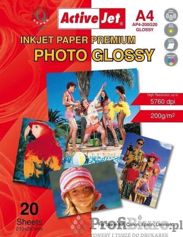Papier fotograficzny błyszczący Activejet A4 20szt. 200g/m2