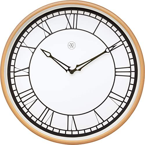 nXt zegar ścienny średnica 30 cm tworzywo sztuczne-biały/matowy róż-''Kyle