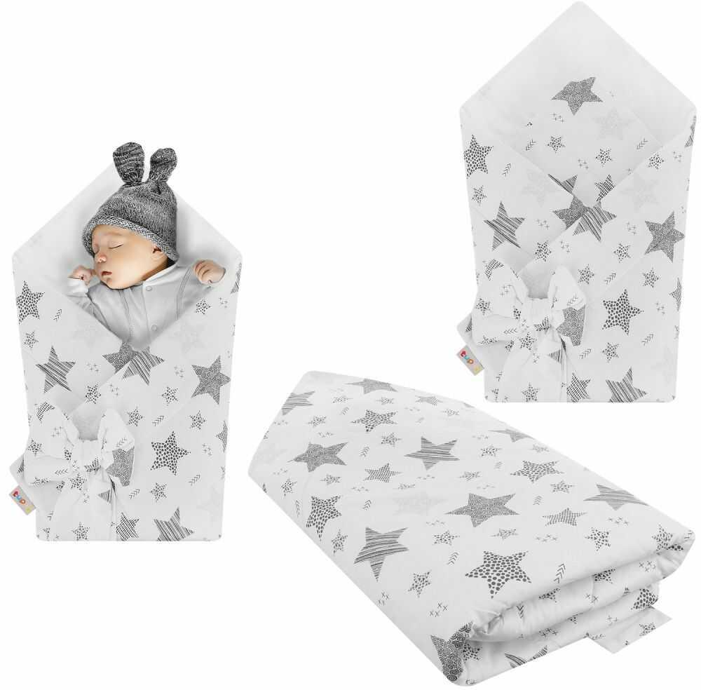 Rożek niemowlęcy bawełniany otulacz dziecięcy becik - GWIAZDOZBIÓR MAXI