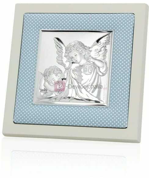 Obrazek srebrny w białej ramie - niebieski 14x14