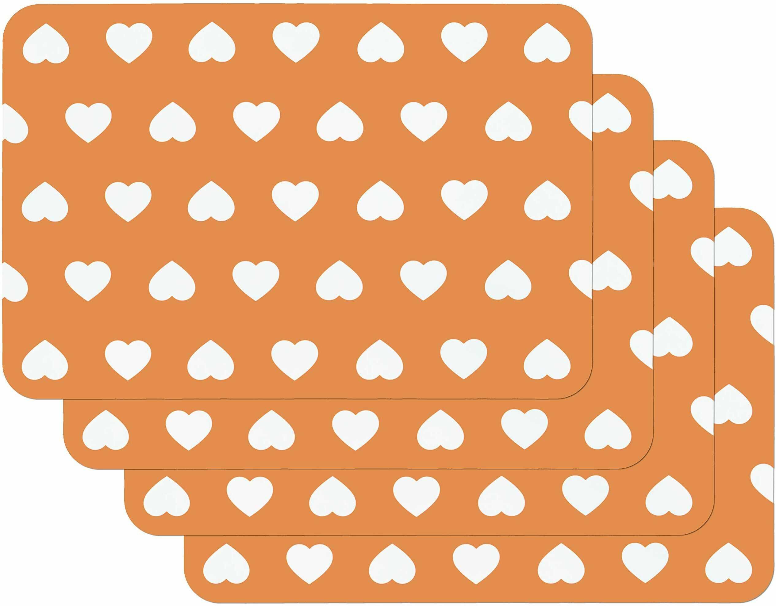 Venilia Zestaw podkładek stołowych do jadalni pomarańczowe serce, zestaw 4 ścieralne polipropylen, nadaje się do kontaktu z żywnością, 45 x 30 cm, 4 sztuki, 59053, tworzywo sztuczne, motywy