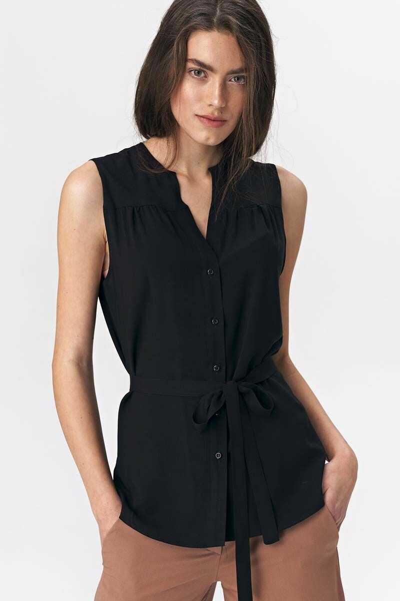 Czarna koszulowa bluzka bez rękawów z paskiem
