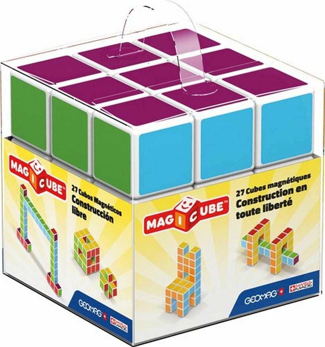 Geomag 128  Magicube Free Building 27 kostki magnetyczne do konstrukcji, zabawki edukacyjne