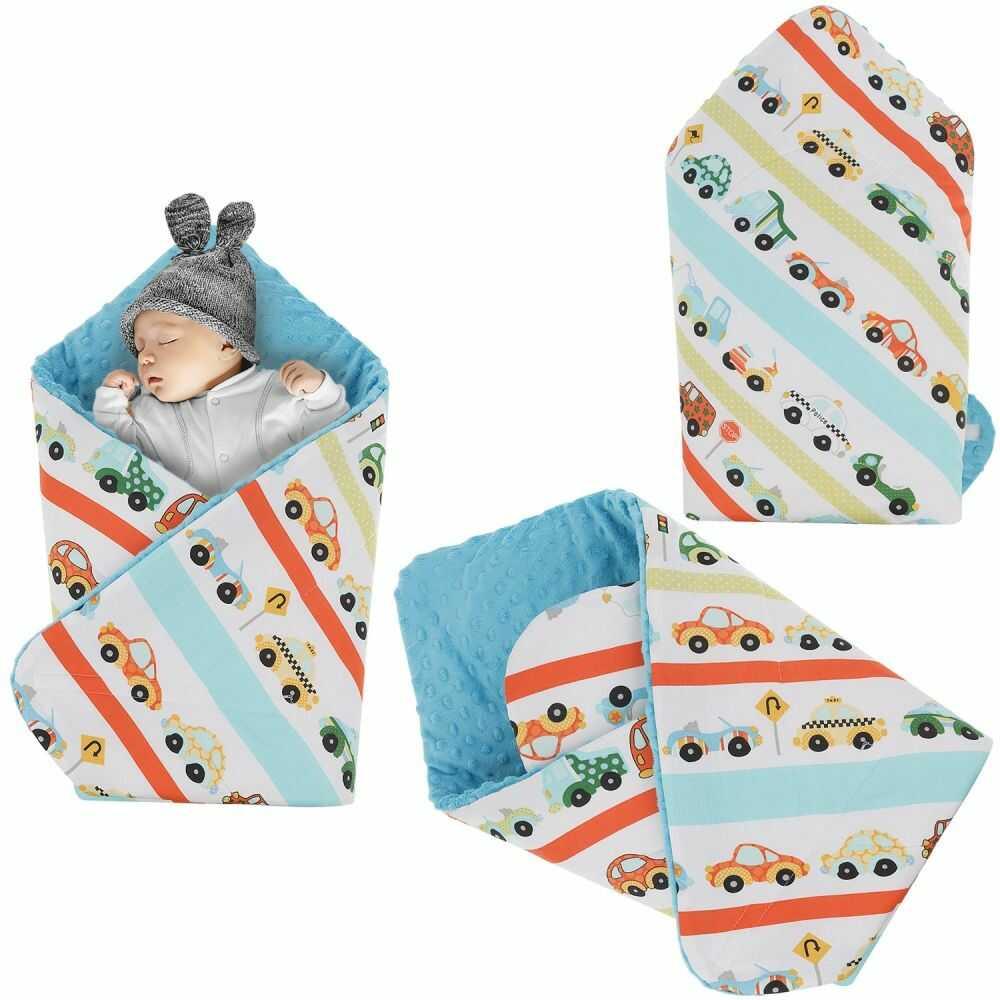 Rożek niemowlęcy Minky i Bawełna otulacz pluszowy - Autka