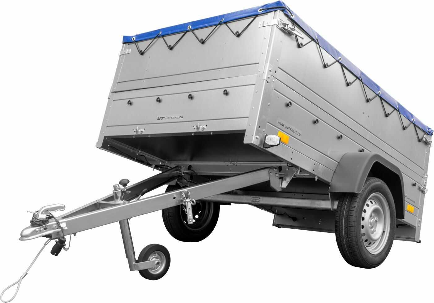 Przyczepa Unitrailer GARDEN TRAILER 201 KIPP z kołem podporowym, burtami bis i plandeką płaską niebieską