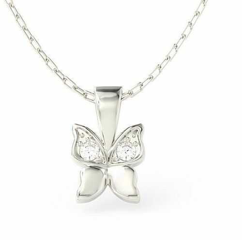 Wisiorek w kształcie motyla z białego złota z cyrkoniami bpw-88b-c