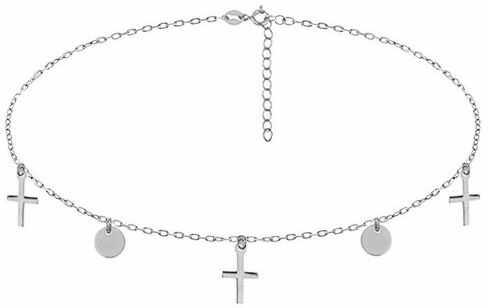 Rodowany srebrny naszyjnik gwiazd celebrytka choker kółeczka circle coin krzyżyk cross srebro 925 R0118N