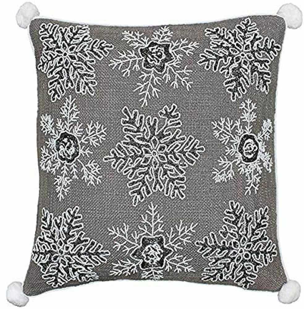 Riva Paoletti poduszka wypełniona białym świątecznym piórkiem - mokka brązowa - wzór płatka śniegu z cekinami - metaliczna tkanina - Narożniki pomponów - 100% bawełna - 50 x 50 cm (20 x 20 cali)