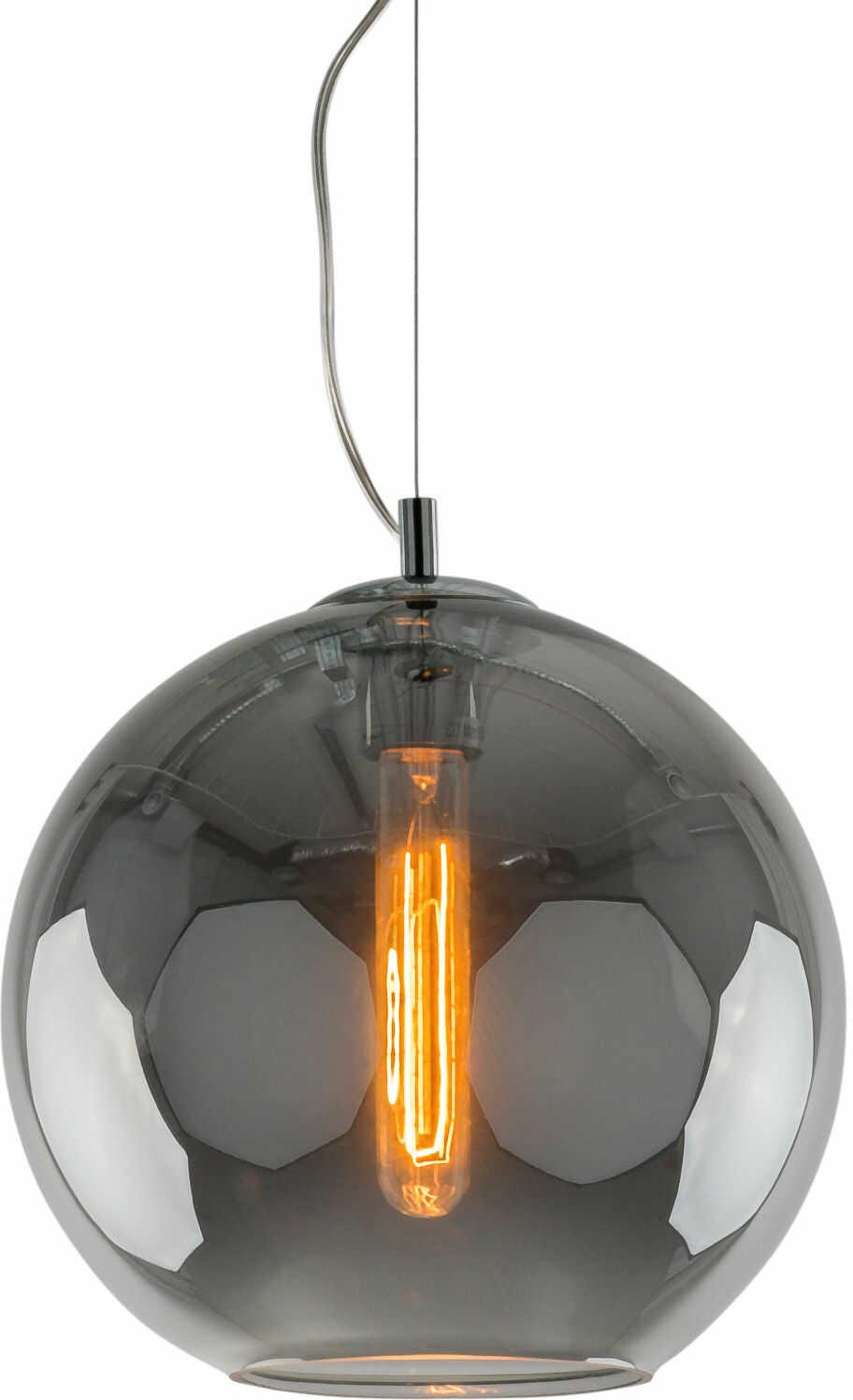 Italux Spectre MD-DC-6042C SMOKY lampa wisząca industrialna chrom metal klosz okrągły szkło 28cm IP20 E27 60W
