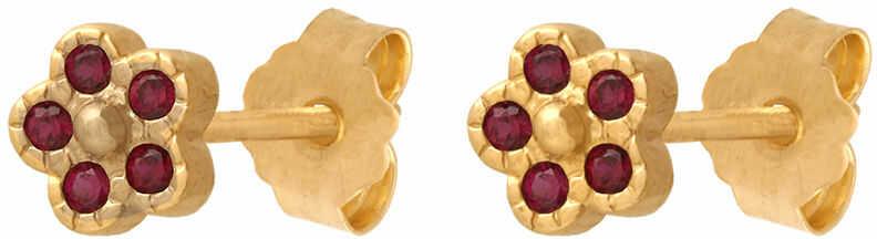 Złote kolczyki 585 kwiatuszki z kamieniami w kolorze rubinu na szyft 1.15g