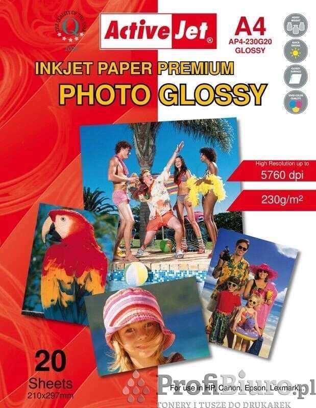 Papier fotograficzny błyszczący Activejet A4 20szt. 230g/m2