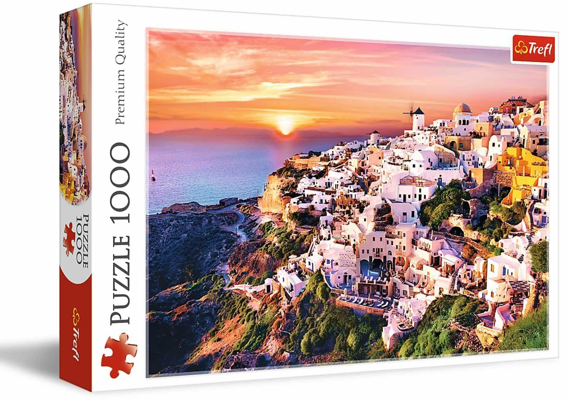 Trefl - Puzzle Zachód Słońca nad Santorini, Grecja - 1000 Elementów, Grecka Wyspa, Widok na Piękne Miasto, Układanka DIY, Kreatywna Rozrywka, Prezent, Puzzle Klasyczne dla Dorosłych i Dzieci od 12 Lat