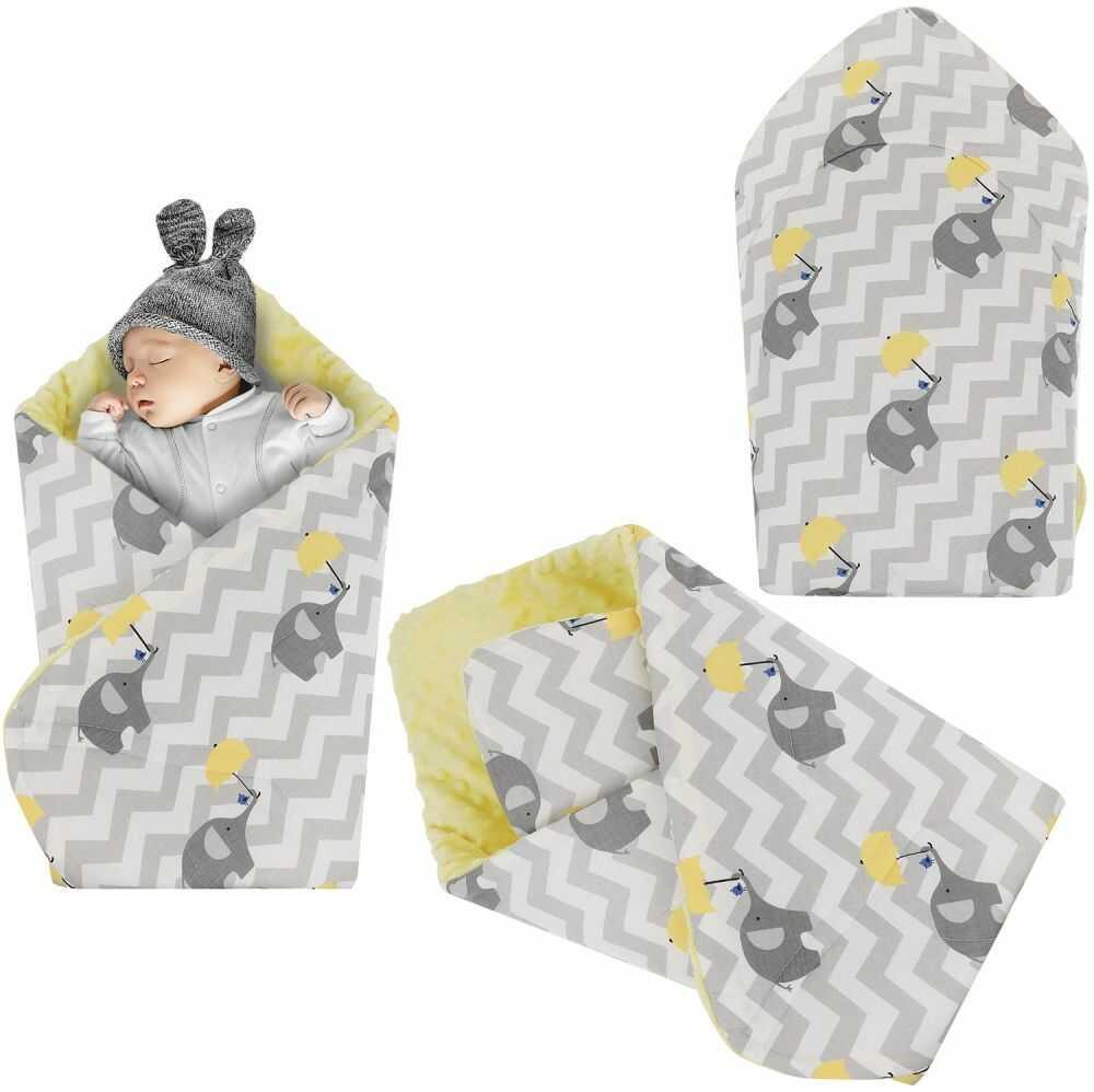 Rożek niemowlęcy Minky i Bawełna otulacz pluszowy - Słoń z parasolką