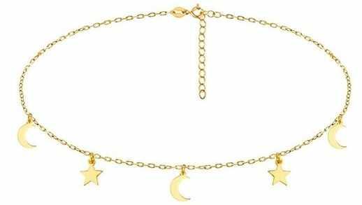 Pozłacany srebrny naszyjnik gwiazd celebrytka choker księżyc moon gwiazdka star srebro 925 R0119N_G