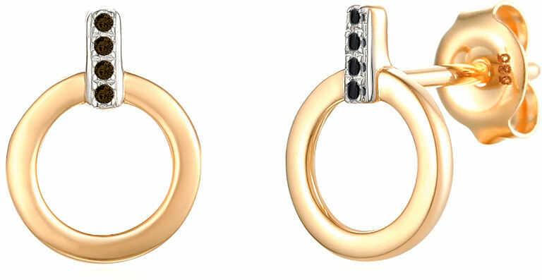 Złote kolczyki 585 ringi z czarnymi diamentami