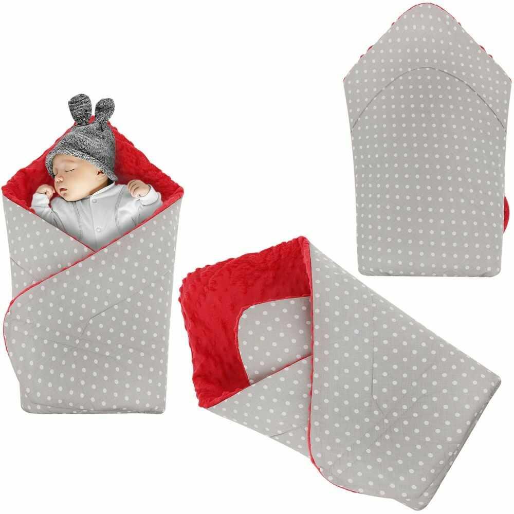 Rożek niemowlęcy Minky i Bawełna otulacz pluszowy - Szary w białe kropki