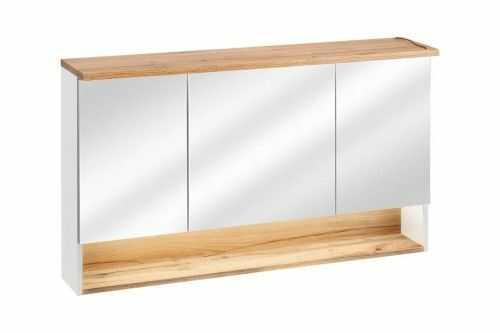 Szafka z lustrem BAHAMA biel alpejska/dąb 120 cm Soft Close połysk