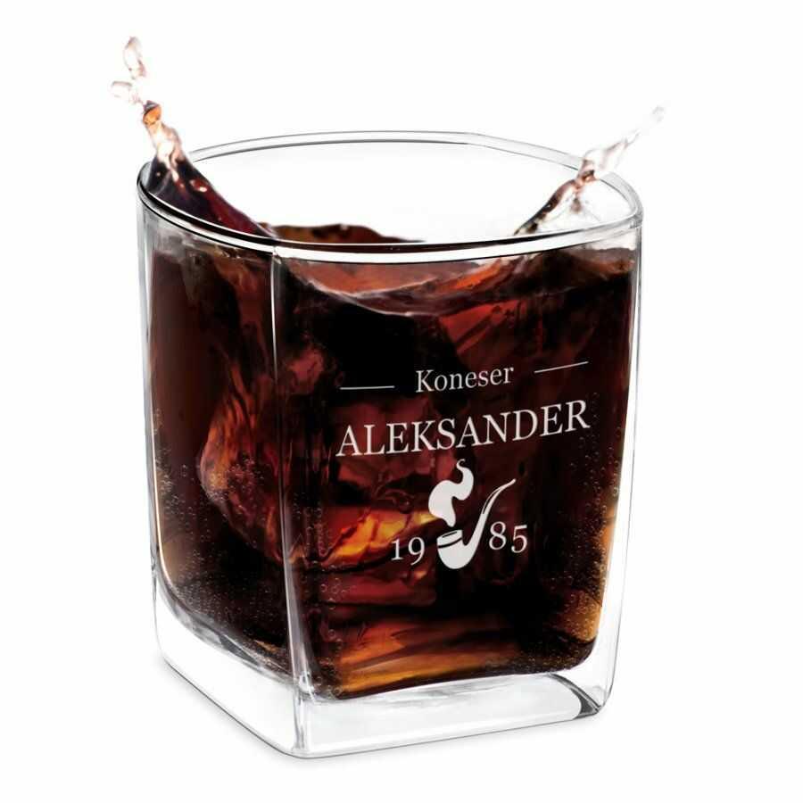 Szklanka do whisky z grawerem dla konesera na urodziny