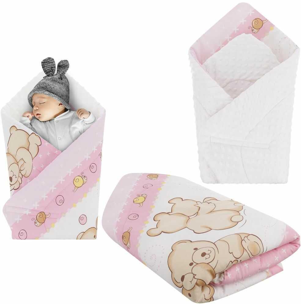 Rożek niemowlęcy Minky i Bawełna otulacz pluszowy - Miś przyjaciel różowy