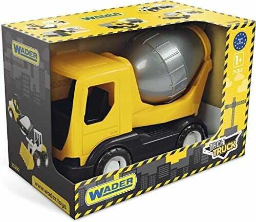 Wader 35363 35363-Tech Truck betoniarka z obrotowym bębnem i stabilną osią stalową, rozmiar ok. 26 x 14,5 x 19 cm, kolor żółty, od 12 miesięcy, idealny jako prezent do kreatywnej zabawy