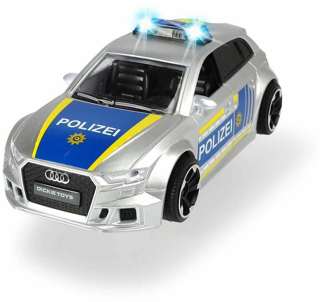 Dickie Toys 203713011 Audi RS3 policja auto policyjne z frykcją, z akcesoriami i blokadą ulicy, światłem i dźwiękiem, w zestawie baterie, skala 1:32, 15 cm, od 3 lat, kolor srebrny, niebieski