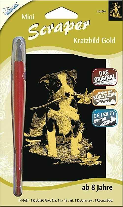 MAMMUT 131004 - obraz do drapania, motyw psa, złoty, błyszczący, mini, kompletny zestaw z nożem do drapania i arkuszem do ćwiczeń, Scraper, Scratch, KRitzel, zestaw do drapania dla dzieci od 8 lat