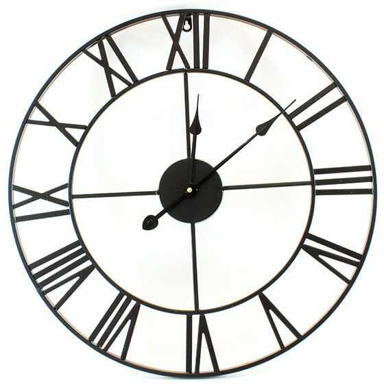 Metalowy Zegar Ścienny RETRO 3D - Czarny (śr. 58cm).