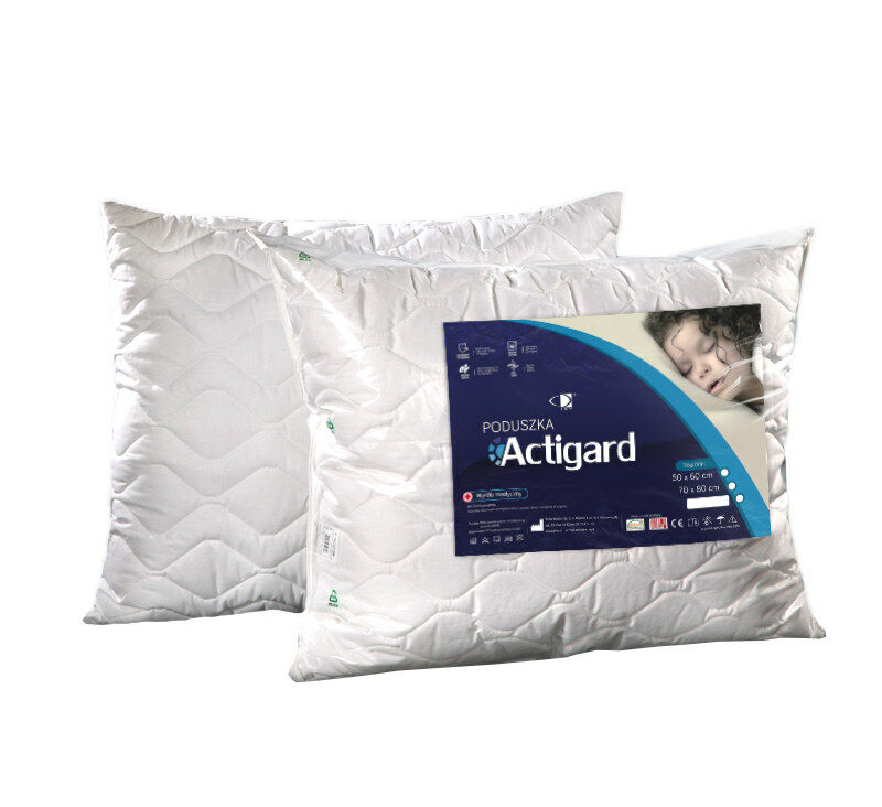 Poduszka antyalergiczna 40x40 Actigard 0,25 kg biała 100% bawełna wykończona substancją antybakteryjną Actigard AMW