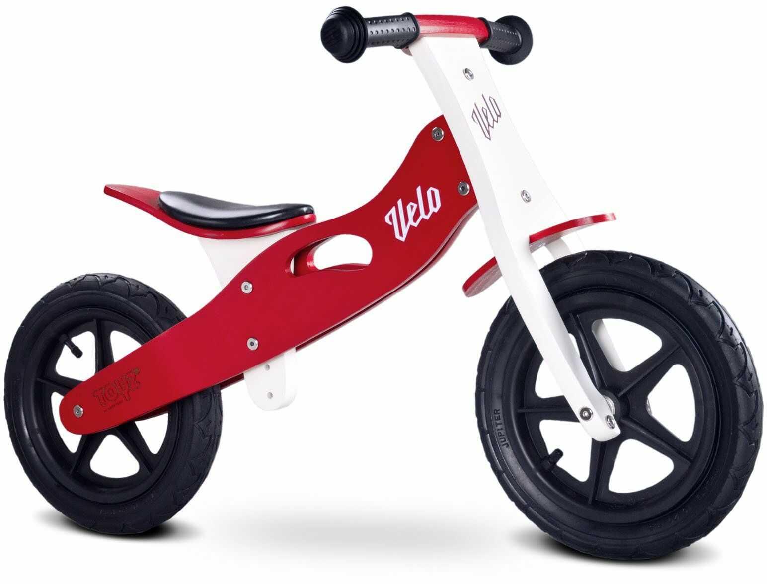 Toyz Velo, drewniany rower z oponami pneumatycznymi, czerwony