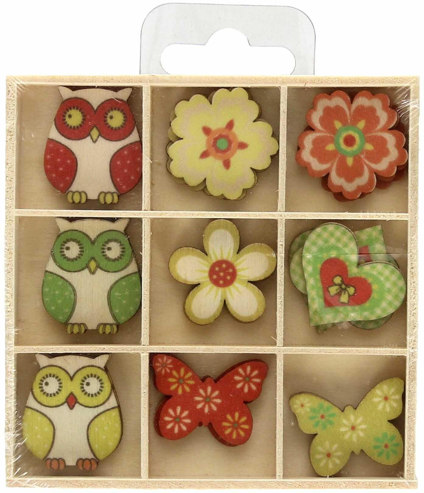 Ozdoby drewniane pudełko Sowy/Kwiaty (27)