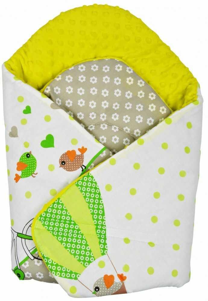Rożek niemowlęcy Minky i Bawełna otulacz pluszowy - Sowy na rowerach zielone