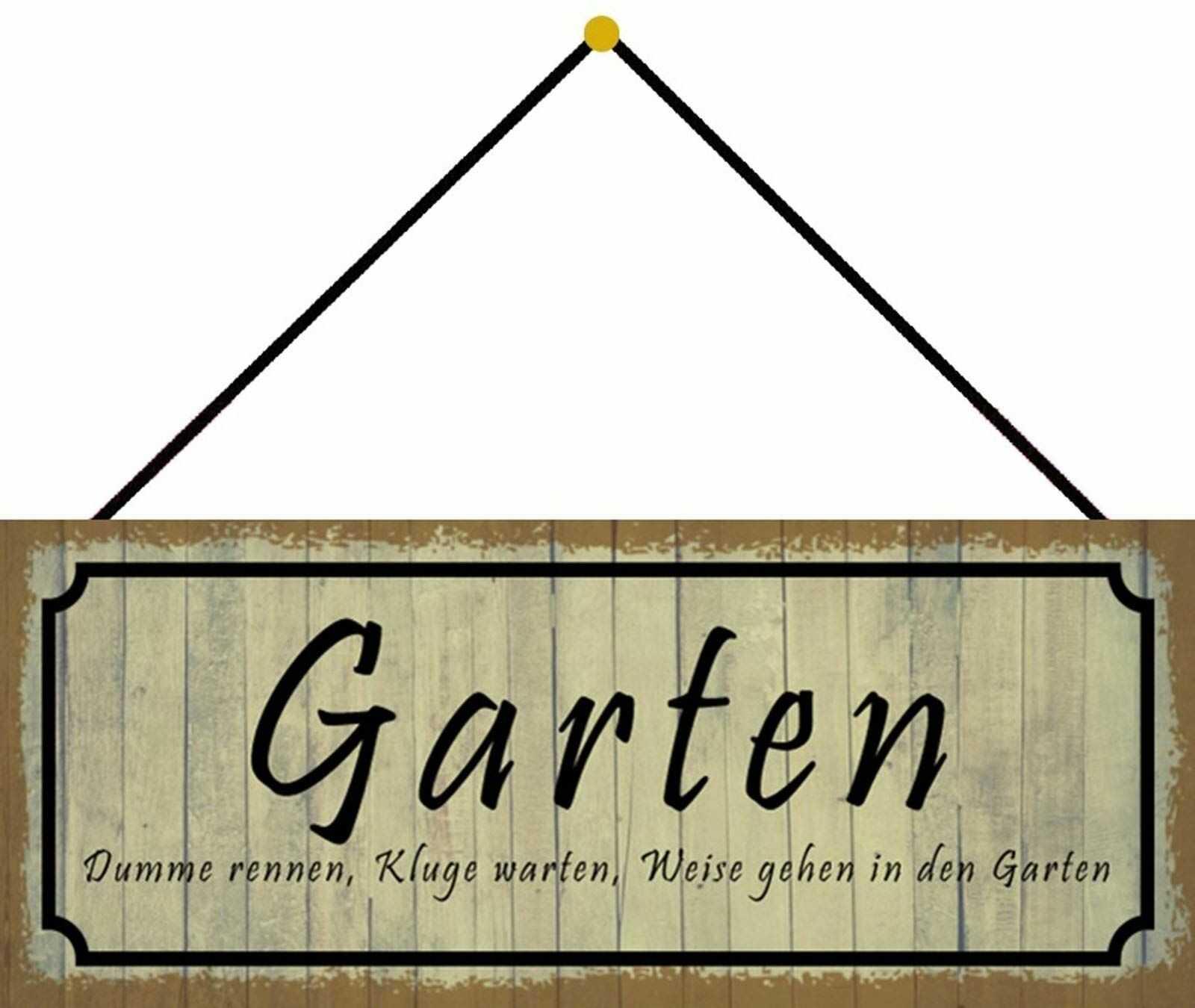 Schatzmix Ogrodowy mądra tabliczka metalowa 27 x 10 cm dekoracja ścienna tin Sign ze sznurkiem blaszana tabliczka, blacha, wielokolorowa, 27 x 10 cm