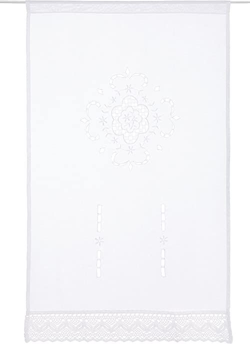 Home Fashion Zasłona okienna struktura płótna haftowana, tkanina, biała, 100 x 60 cm