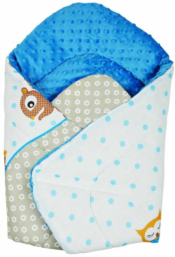 Rożek niemowlęcy Minky i Bawełna otulacz pluszowy - Sowy na rowerach niebieskie