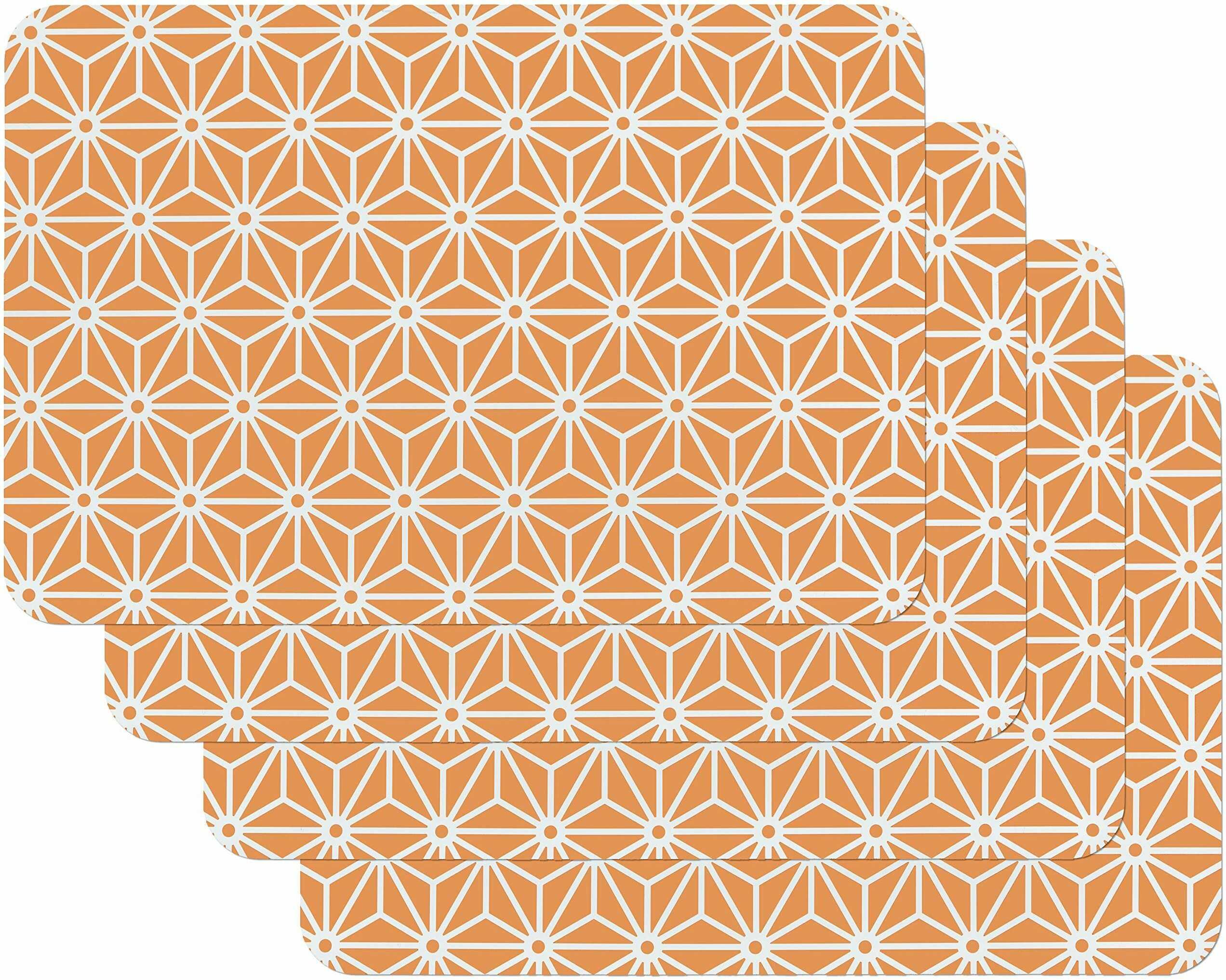 Venilia Osaka pomarańczowy zestaw podkładek stołowych do jadalni VINTAGE, 4 sztuki, zmywalny polipropylen, nadaje się do kontaktu z żywnością, 45 x 30 cm, 4 sztuki, 59061, tworzywo sztuczne, motywy, 4