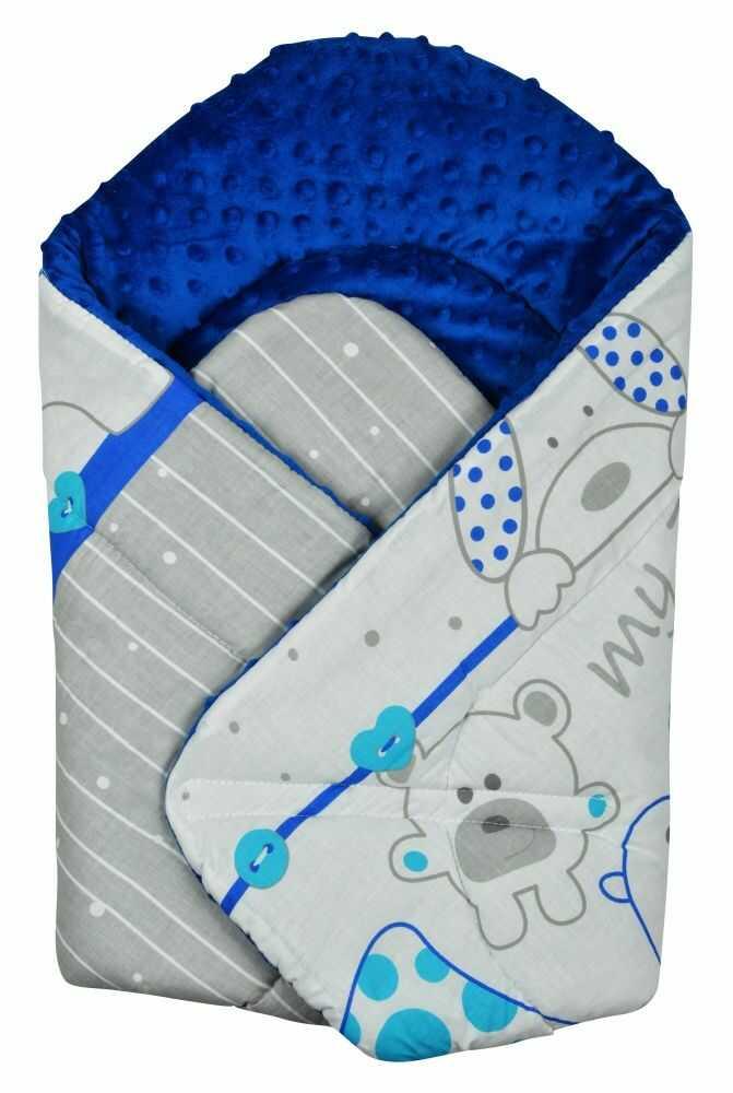 Rożek niemowlęcy Minky i Bawełna otulacz pluszowy - Zoo niebieskie