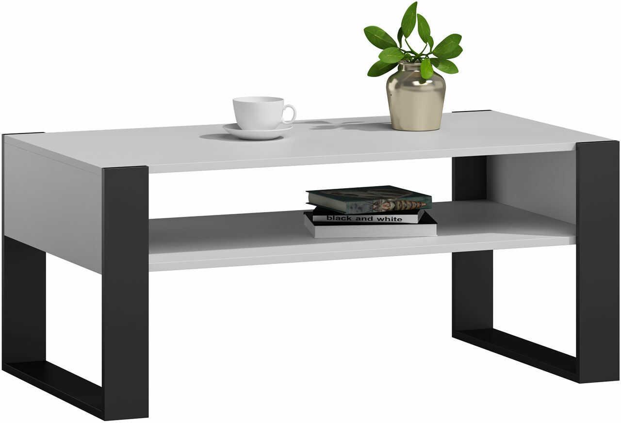 Minimalistyczna ława do salonu czarny/biały - Lazira