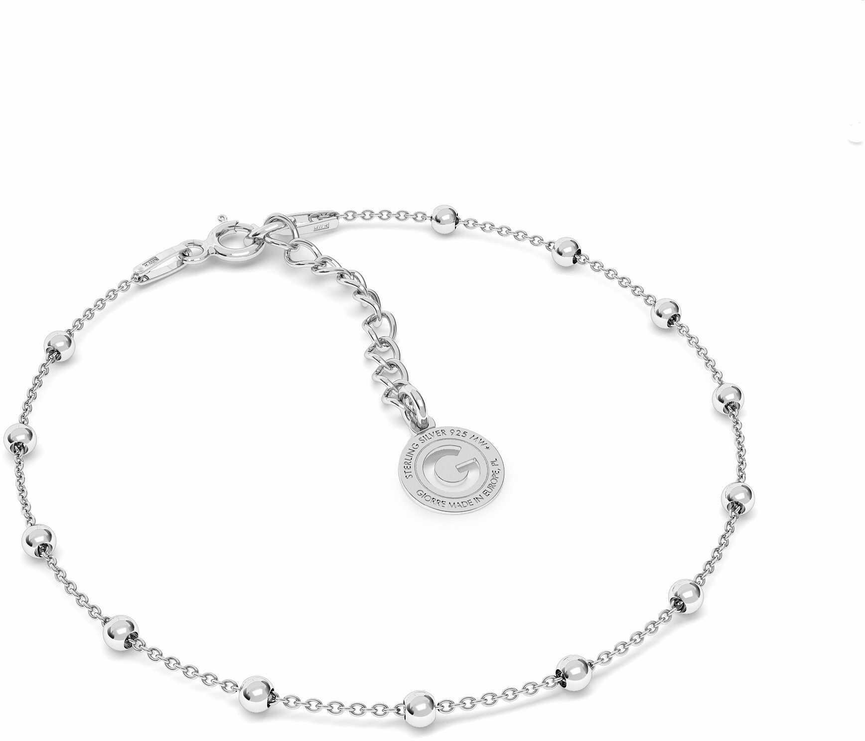Srebrna bransoletka łańcuszkowa ankier z kulkami, srebro 925 : Srebro - kolor pokrycia - Pokrycie platyną