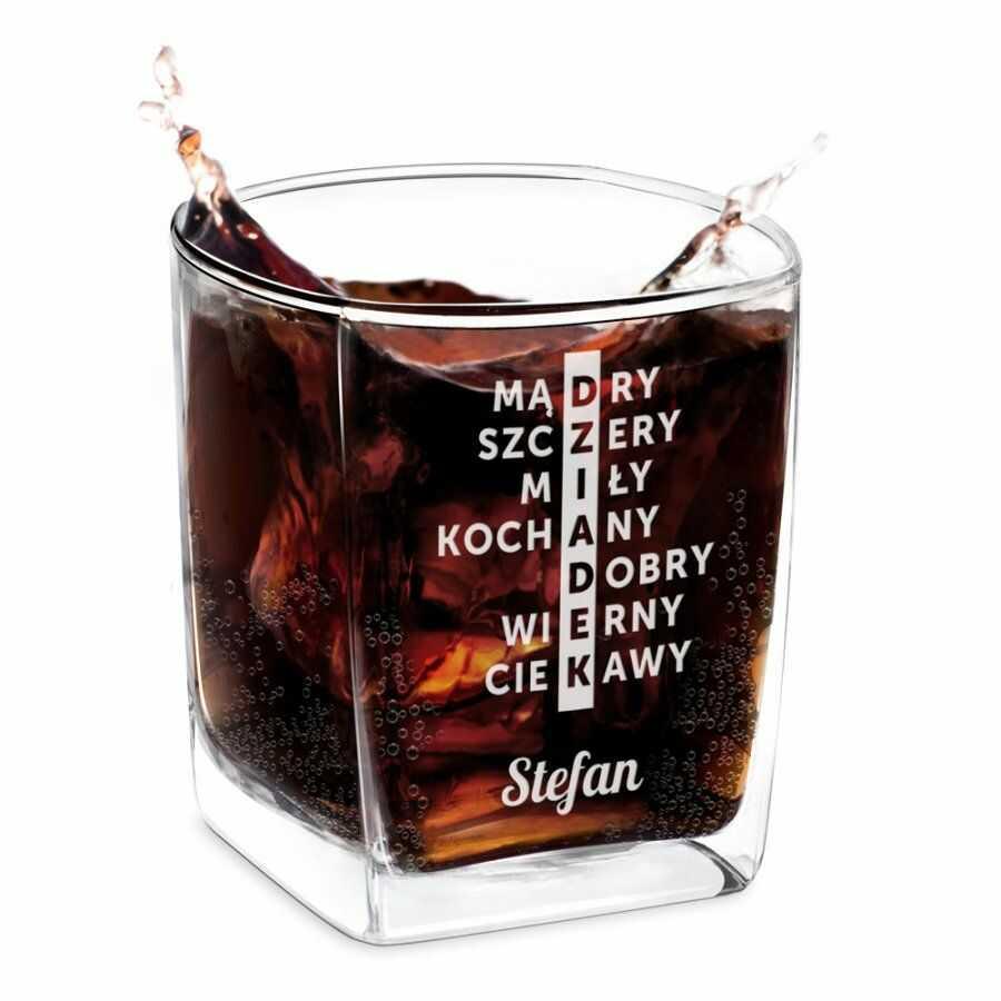 Szklanka do whisky z grawerem krzyżówka dla dziadka