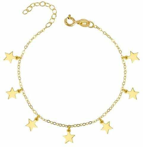 Elegancka pozłacana srebrna bransoleta gwiazd celebrytka choker gwiazdka star srebro 925 R0120B_G